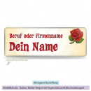 Namensschild mit Rose